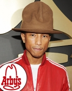 Grammy Award winner, Pharrell Williams in his Arby's hat was a big winner in the 56th Annual Grammy Awards telecast from Los Angeles by CBS.