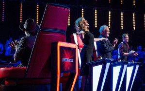 BBC One's 'The Voice UK' with judges will.i.am,  Kylie Minogue with fellow judges will.i.am, Tom Jones and Ricky Wilson. Photo Credit: Wall to Wall