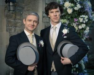 'Sherlock' Martin Freeman as John Watson and Benedict Cumberbatch as Sherlock Holmes c BBC