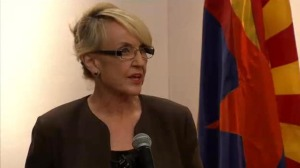 Governor Jan Brewer has press conference announcing she had vetoed SB1062 on Wednesday.