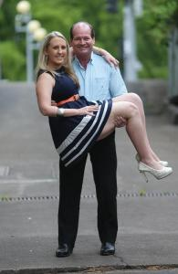 Facing elimination, ' My Kitchen Rules' contestants, David and Corinne. Picture: Annette Dew Source: News Limited