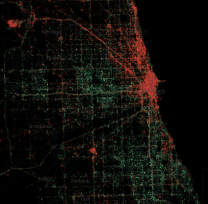 A geo-socioeconic view of Chicago tweeting using iPhone (red) and Android (green).