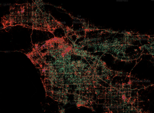 The Los Angeles basin based on Tweets using iPhone (red) and Android (green) for mapping purposes.