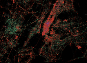 New York City showing iPhone & Android coverage while solely Tweeting.