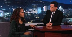 If you didn't think ABC's 'Scandal' was big, look at Jimmy Kimmel's ratings on Thursday as a pregnant Kerry Washington stopped by 'Jimmy Kimmel Live' Thursday after 'Scandal' returned from winter hiatus.