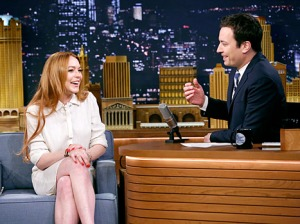 Lindsay Lohan guests on 'The Tonight Show with Jimmy Fallon' on Thursday.