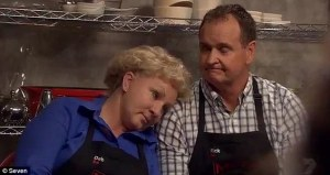 Naughty Nanna Deb and her husband Rick were sent to the sudden death elimination round after finishing last overall on 'My Kitchen Rules' which was the #1 program in Australia on Monday.
