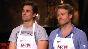 Harry Curtis and Christo Gibson flamed out in a cook-off against Helena and Vikki and were eliminated from 'My Kitchen Rules', Australia's top program on Monday.