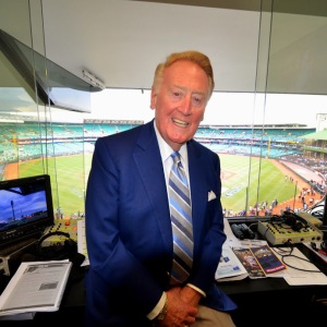 The great baseball announcer, Vin Scully was there to call the action.