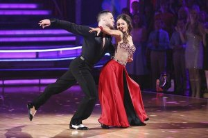Val Chmerkovskiy and Danica McKellar dazzled with their fox trot on ABC's 'Dancing With The Stars', the #1 program on Monday. (Adam Taylor / ABC / March 17, 2014)