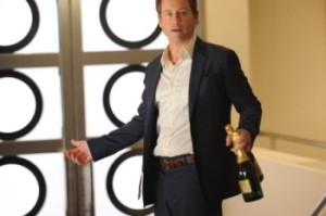 Greg Kinnear as Keegan, comes back to celebrate victory at the law firm but is greeted by silence in 'Rake' on Friday in an episode titled, 'Staple Holes'.