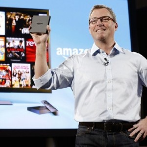 Jeff Bezos introducing 'Amazon Fire TV'. The Internet-connected set-top box, which uses voice search when you speak into the remote and also serves as a gaming console, was announced during a launch event in New York City on Wednesday.