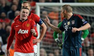 ITV's Champions League coverage of Manchester United's draw with Bayern Munich topped the ratings overall outside of soaps with 5.86m (26.1%) on Monday.