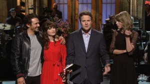 James Franco, Zooey Deschanel and Taylor Swift join host, Seth Rogan on 'Saturday Night Live'