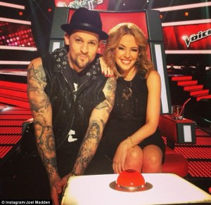 'The Voice' Australia's Kylie Minogue and Joel Madden of the #1 program on Sunday.