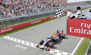 Red Bull's Daniel Ricciardo takes the chequered flag to win the Canadian Grand Prix in Montreal topping all in the UK on Sunday. Photograph: Paul Chiasson/AP
