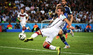 BBC One with the '2014 World Cup' final was #1 in the UK on Sunday. Mario Götze scored for Germany against Argentina. Credit:  Photograph: Ian Macnicol/Getty Images  from The Guardian)