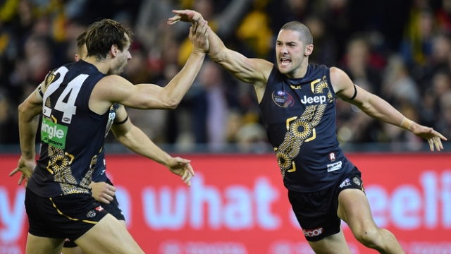Seven's AFL on Saturday. https://au.sports.yahoo.com/afl/a/28286497/hardwick-happy-for-tigers-to-win-ugly/
