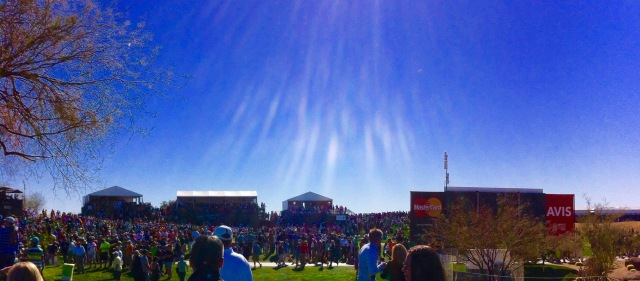 2016 WM Phoenix Open set a record of 201,003 in attendance on Saturday, the biggest single day sporting event attendance West of the Mississippi and West of the Eastern Time Zone. It was the biggest attended event in the history of golf.   Photo by Lance G. Hanish  © 2016 All Rights Reserved
