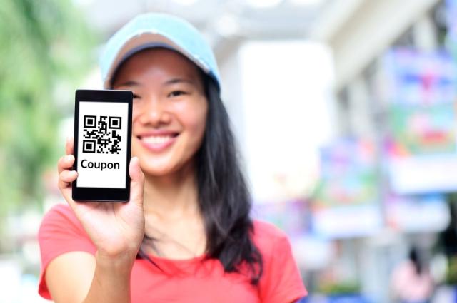woman - mobile coupon