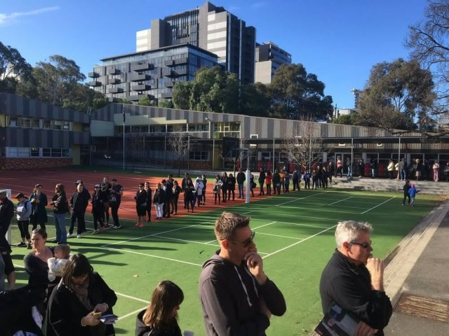 Voters waiting to vote on Saturday in Australia.
