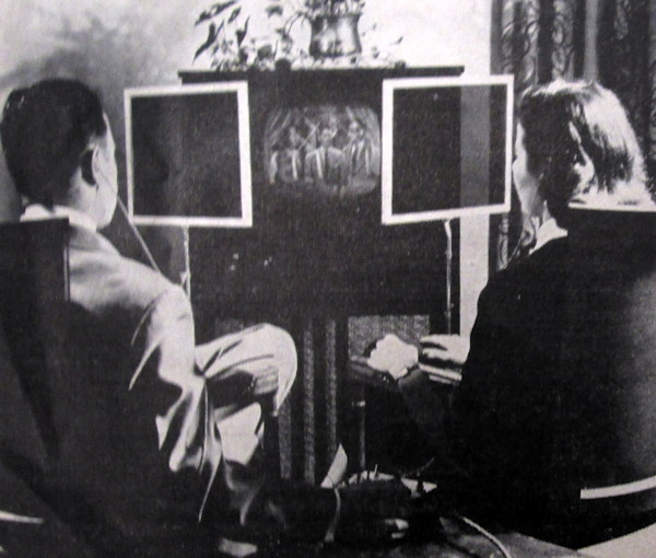 """When a husband wants to look at the fights and his wife prefers a situation comedy, the Duoscopic provides both at the same time. The set contains two screens and a special mirror that throws one picture onto the other, creating a double image. Polaroid windows filter out the unwanted image, and special earphones carry the separate sound tracks."""