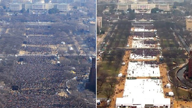 Pictures Equal A Thousand Words Inauguration Day 2009 on left vs Inauguration Day 2017 on the right.