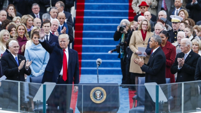 Donald Trump's inauguration day ceremonies grabbed 30.6 million viewers on Friday, significantly lower than the crowd that turned out for Barack Obama's first inauguration in 2009. Nielsen measured the 12 networks that aired any live coverage of inaugural events between 10 a.m. and 6 p.m. ET. Obama's history-making first time out averaged 37.7 million viewers.